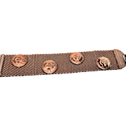 Copper mesh and copper coin bracelet