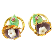 Wonderful Austria Floral and Rhinestone earrings