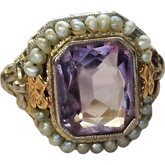 Stunning Amethyst & Seed Pearls Art Deco Vintage Ring 14K
