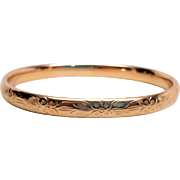 Early Krementz  Rolled Gold  Hinged Bangle Bracelet