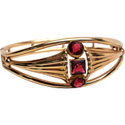 Simmons Ruby Red Glass Jewel Hinged Bangle Bracelet, Open Back Glass Rhinestone