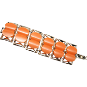 Thermoset Orange Sherbert Panel bracelet in Gold Plated Metal