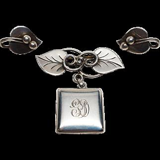 Early Georg Jensen Sterling earring and locket pin brooch set