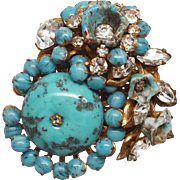 Miriam Haskell Blue Bead and Rhinestones pin / brooch Horseshoe Signature