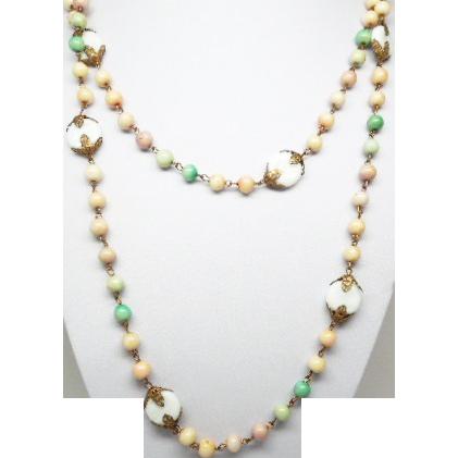 "Art Deco Art Glass Bead Flapper Necklace 56"""