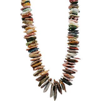 Amazing Southwestern Runway 106 Natural Stone Necklace Jade, Agate, Jasper Arrowhead Blanks