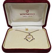 Vintage Signed Mikimoto 6mm Cultured Pearl Pendant  Sterling Silver w/SS Chain