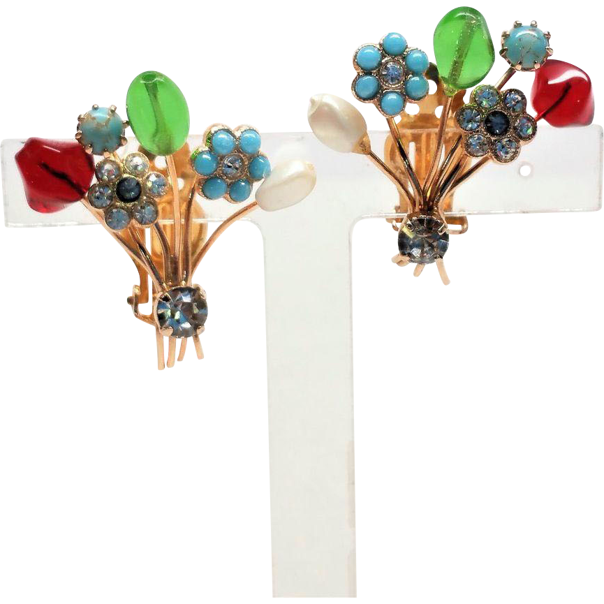 Amazing Art Glass and Bead Bouquet clip earrings