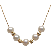 14K Yellow Gold Akoya Saltwater Cultured Pearl Necklace