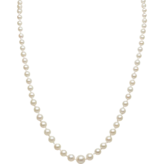 Graduated Akoya Cultured Pearl Necklace, 14K White Gold Clasp
