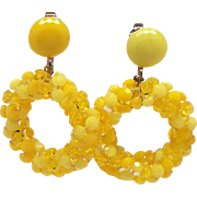 Super Sunny yellow Plastics Hoop Clip Earrings