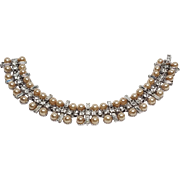 Signed Bogoff Faux Champagne Pearl and Rhinestone bracelet
