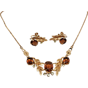 Van Dell GF Amber Rhinestone necklace earring set