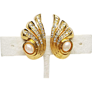 Christian Dior Signed Vintage Rhinestone and faux pearl clip earrings