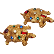 Wonderful multi colored Rhinestone Turtle Clip Earrings