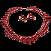 Wonderful Renoir Matisse Red Enamel Peter Pan Earrings and necklace