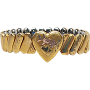 "Child's 14K Gold-Filled Expandable ""Sweetheart"" Bracelet Heart with bird and flower"