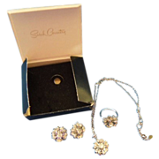 """Sarah Coventry """"Symphony"""" full set,necklace earrings ring"""