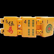Vintage Bakelite Mahjong Bracelet with Bakelite Dice!