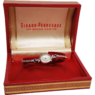 Girard - Perregaux Ladies Watch in 14K White Gold and Diamonds w stretch band