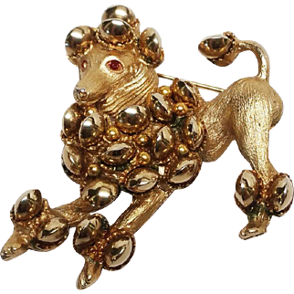 Signed HAR Poodle with bells pin brooch