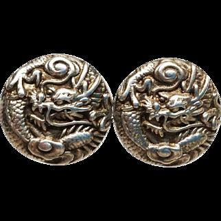 Wonderful Sterling Chinese Dragon screwback Earrings