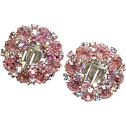 Fabulous WEISS Signed Pink Rhinestone Vintage Earrings
