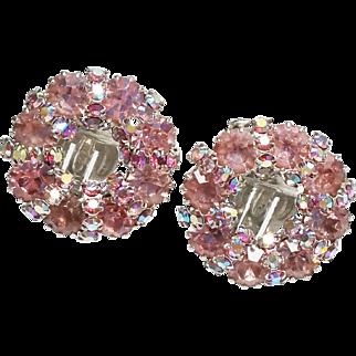 Fabulous WEISS Signed Pink Rhinestone Vintage Earrings