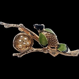 EARLY Signed KRAMER Bird Nest Pin Brooch Pearl Eggs