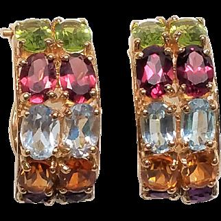 Outstanding 14K multi gemstone Earrings Amethyst Topaz Peridot garnet Aquamarine