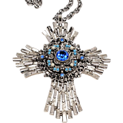 "Large silver Tone  Stacked 3D ""Jeweled"" Maltese Cross Pendant Necklace"