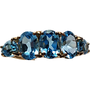 Solid 14K Yellow Gold Natural Blue Topaz  Ring 6