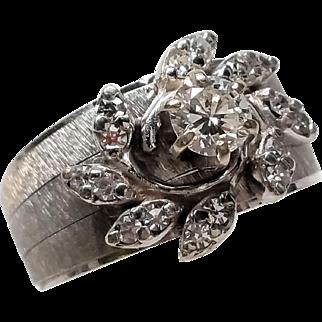 Outstanding 14K white Gold Diamond Wedding band set Cocktail 6.4 grams 5.75
