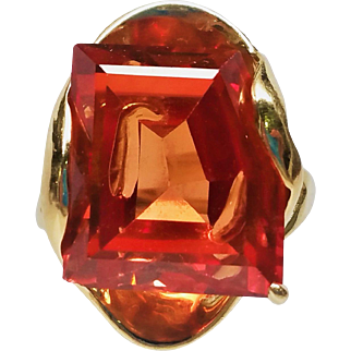 Vintage Signed STRELL 14K Gold Ring w/ Padparadsha Sapphire