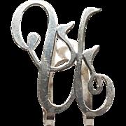 Vintage U Letter Napkin Clip Apollo Silver Co Sterling Silver 1910