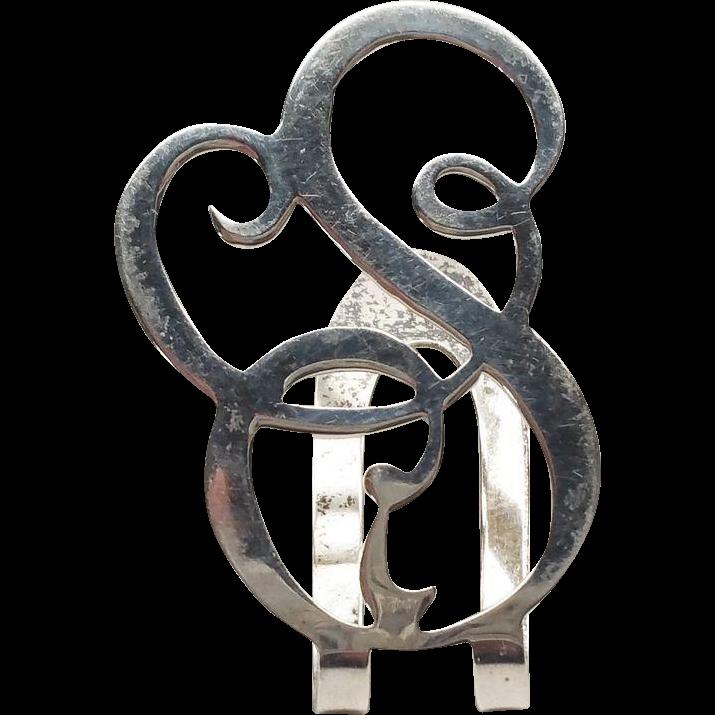Vintage S Letter Napkin Clip Apollo Silver Co Sterling Silver 1910