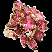 14K  Pink Rhodolite  Garnet Ring 1970's