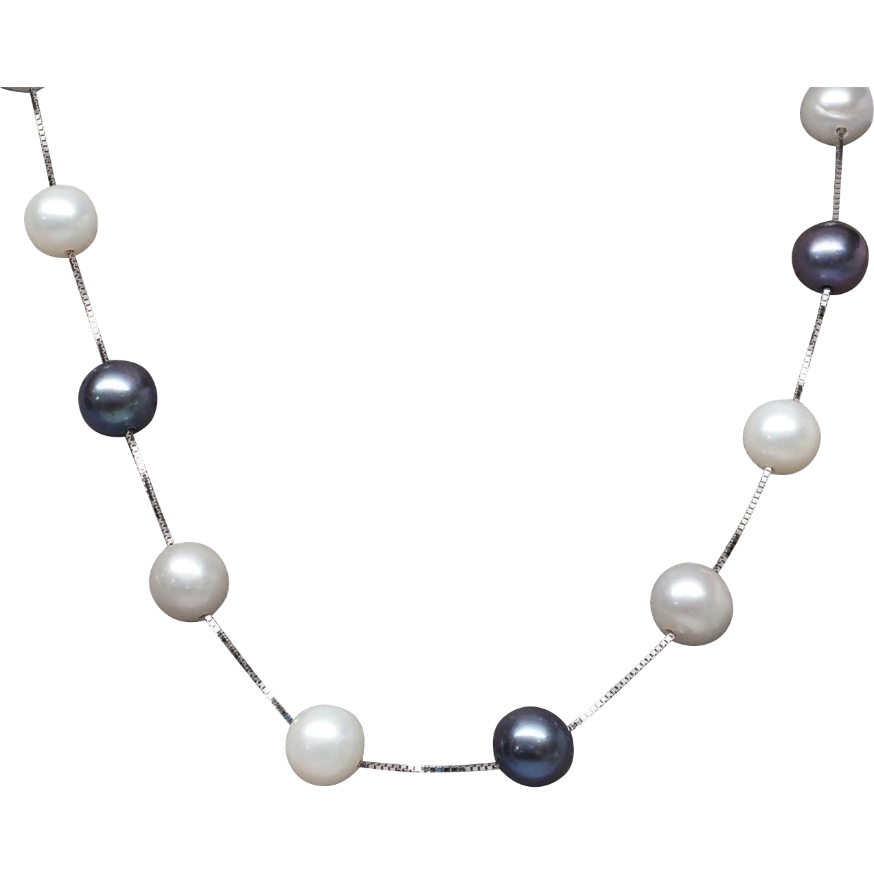 14K White Gold Akoya Pearl Black and White Station Necklace