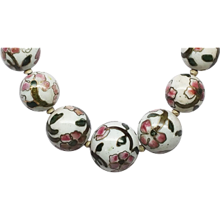 Old Painted Porcelain Chinese Beads necklace