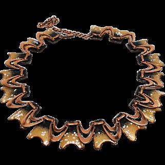 Unsigned Matisse enamel copper wave necklace