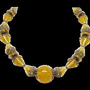 Stunning Satin Art Glass Art Deco Period Necklace