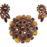 Striking Hobe' faux agate brooch and earrings set