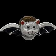 Vintage Enamel Halloween Bat Pin