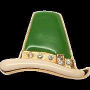 Signed BEATRIX Enamel Irish St Patricks Hat Vintage Pin Brooch