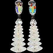 Rivoli cut crystal Crystal stacked clip earrings