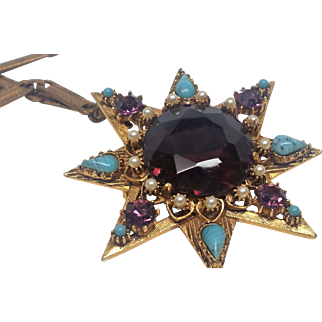 Fabulous FLORENZA Huge Star Purple Rhinestone Pendant Necklace