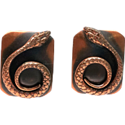 Copper Snake Pat Pending clip Earrings