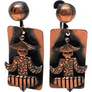 Copper Asian drop dangle screw back earrings