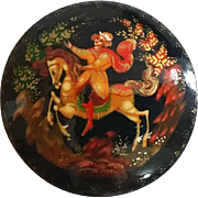 Vintage Artist Signed Russian Lacquer Fairy Tale Pin  Fedoskina Style