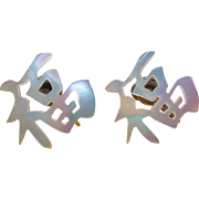 Chinese Handcarved Mother of Pearl Good Luck Earrings Sterling Circa 1940's